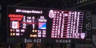 C札幌-FC東京戦スコア